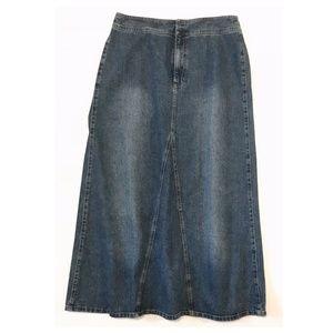 Liz Claiborne Distressed Long Denim Skirt